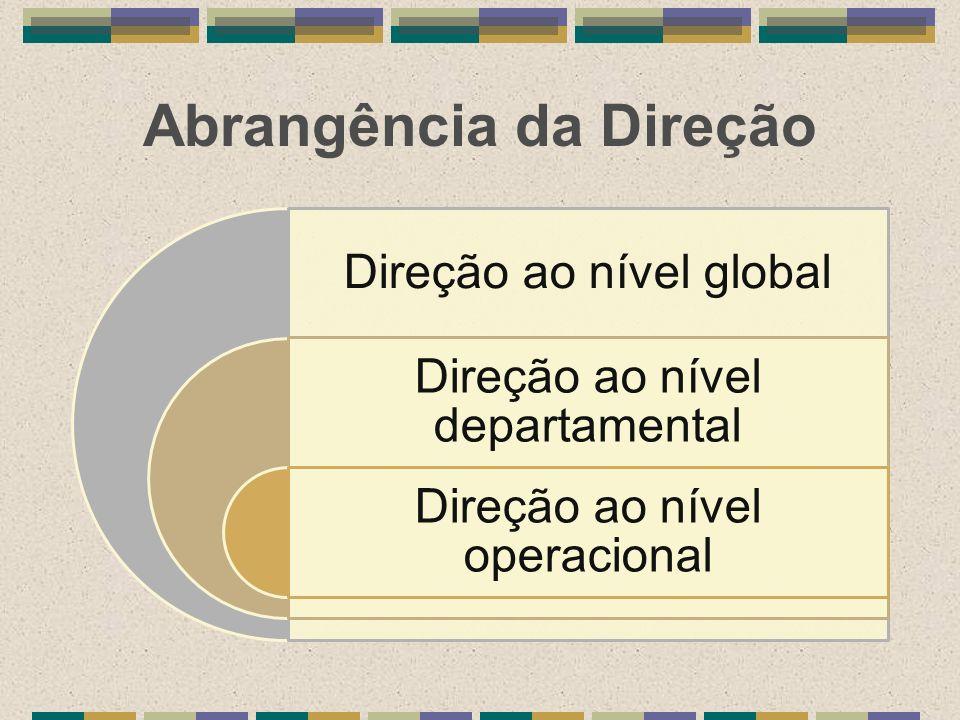 Abrangência da Direção Direção ao nível global Direção ao nível departamental Direção ao nível operacional
