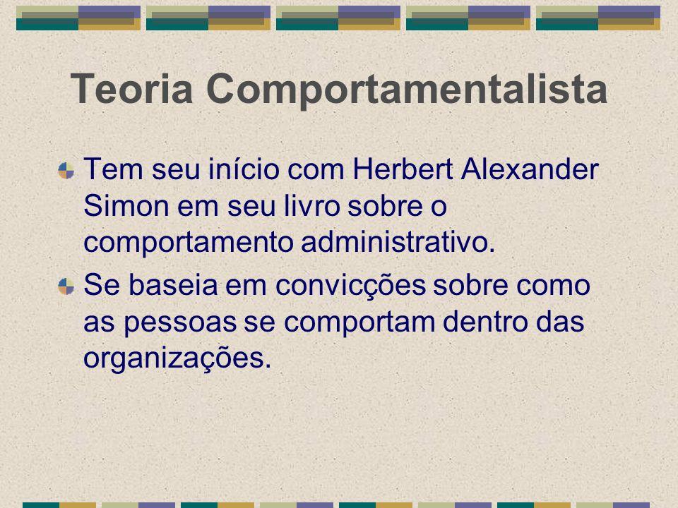 Teoria Comportamentalista Tem seu início com Herbert Alexander Simon em seu livro sobre o comportamento administrativo. Se baseia em convicções sobre