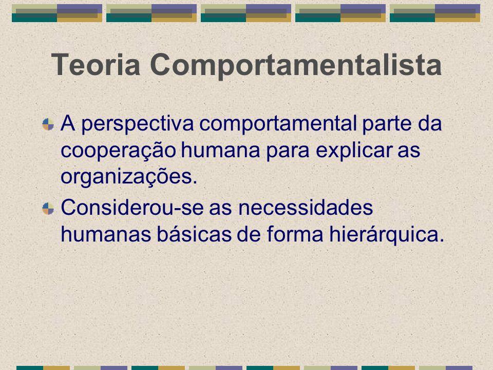 Teoria Comportamentalista A perspectiva comportamental parte da cooperação humana para explicar as organizações. Considerou-se as necessidades humanas