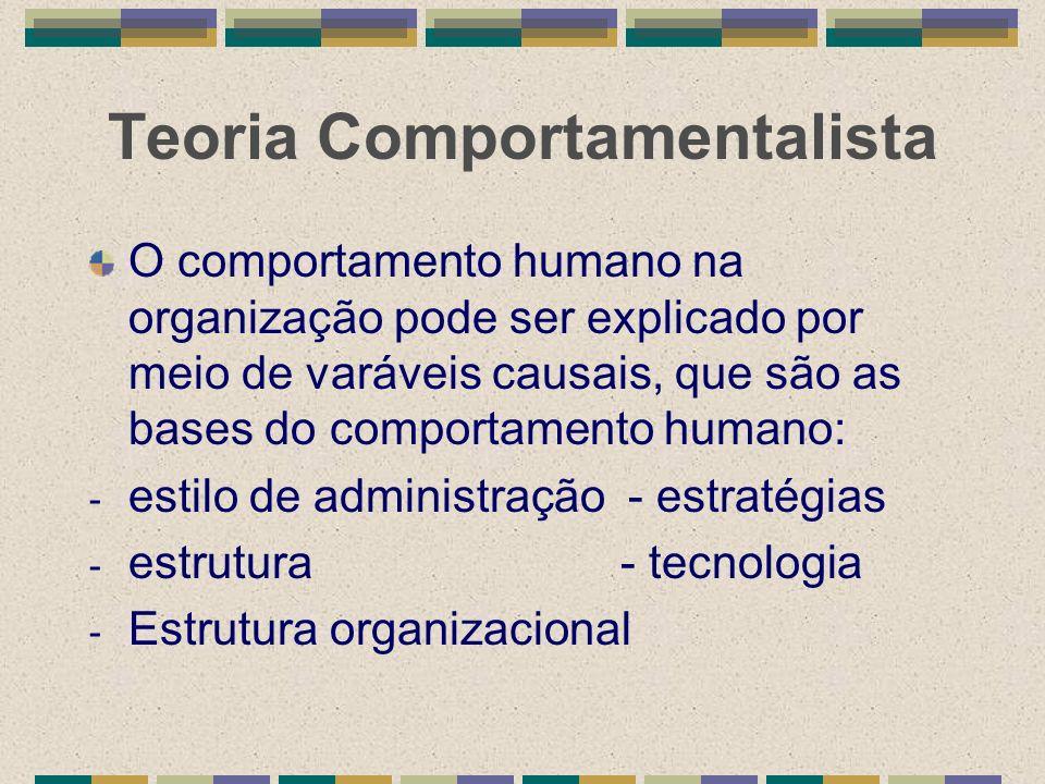 Teoria Comportamentalista O comportamento humano na organização pode ser explicado por meio de varáveis causais, que são as bases do comportamento hum