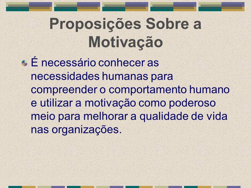 Proposições Sobre a Motivação É necessário conhecer as necessidades humanas para compreender o comportamento humano e utilizar a motivação como podero