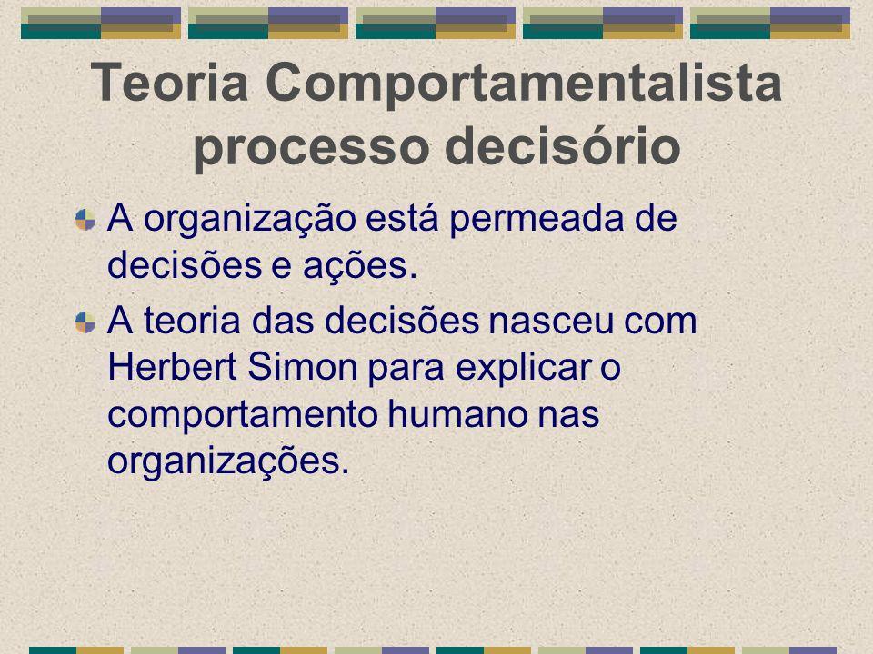 Teoria Comportamentalista processo decisório A organização está permeada de decisões e ações. A teoria das decisões nasceu com Herbert Simon para expl