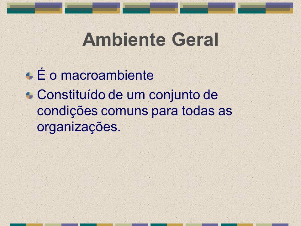 Ambiente Geral É o macroambiente Constituído de um conjunto de condições comuns para todas as organizações.