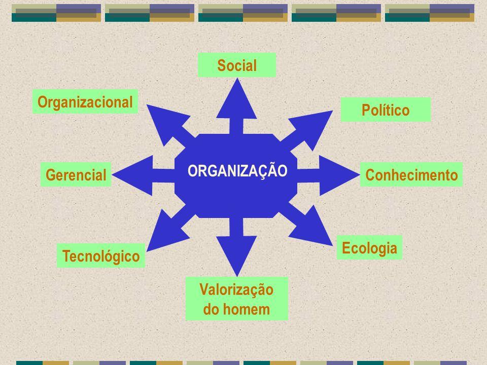 Social Político Conhecimento Ecologia Valorização do homem Gerencial Tecnológico Organizacional ORGANIZAÇÃO