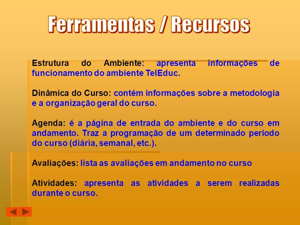 Estrutura do Ambiente: apresenta informações de funcionamento do ambiente TelEduc. Dinâmica do Curso: contém informações sobre a metodologia e a organ