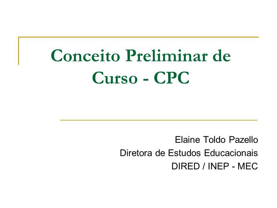 Conceito Preliminar de Curso - CPC Elaine Toldo Pazello Diretora de Estudos Educacionais DIRED / INEP - MEC