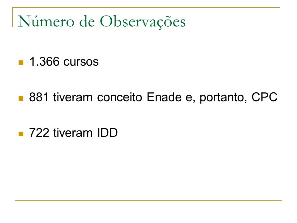 Número de Observações 1.366 cursos 881 tiveram conceito Enade e, portanto, CPC 722 tiveram IDD
