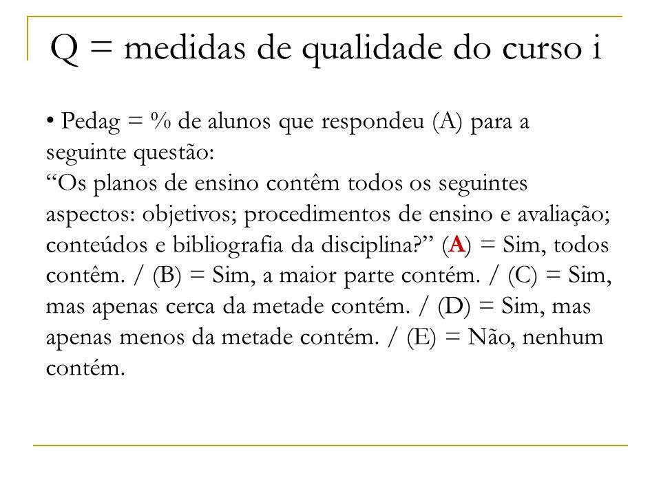 Q = medidas de qualidade do curso Estas medidas foram incluídas para diminuir o viés de estimativa dos coeficientes associados às variáveis características dos ingressantes.