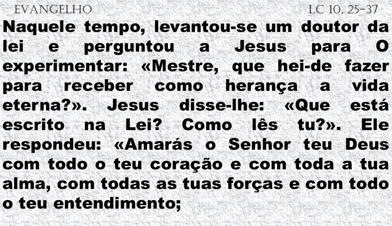 EVANGELHO Lc 10, 25-37 Naquele tempo, levantou-se um doutor da lei e perguntou a Jesus para O experimentar: «Mestre, que hei-de fazer para receber com