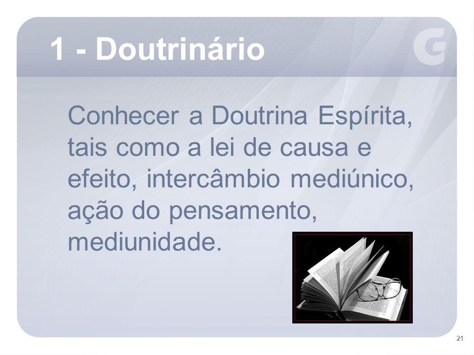 Conhecer a Doutrina Espírita, tais como a lei de causa e efeito, intercâmbio mediúnico, ação do pensamento, mediunidade.