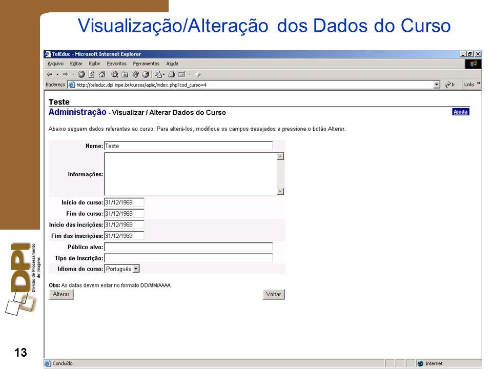 13 Visualização/Alteração dos Dados do Curso