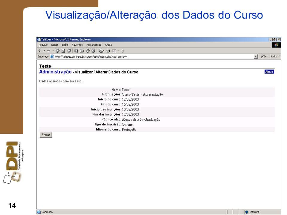 14 Visualização/Alteração dos Dados do Curso