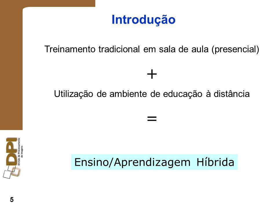 5 Introdução Treinamento tradicional em sala de aula (presencial) + Utilização de ambiente de educação à distância = Ensino/Aprendizagem Híbrida