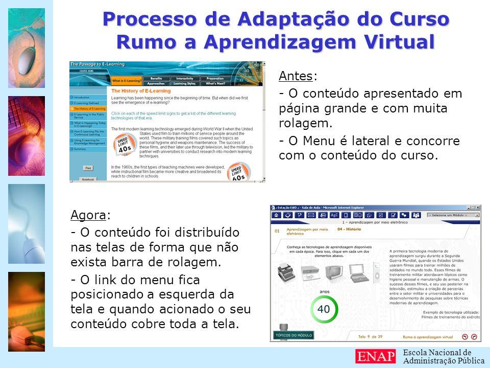 Escola Nacional de Administração Pública Processo de Adaptação do Curso Rumo a Aprendizagem Virtual Transposição do conteúdo já adaptado para o formato adotado na Escola Virtual ENAP.