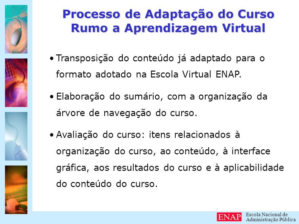 Escola Nacional de Administração Pública Processo de Adaptação do Curso Rumo a Aprendizagem Virtual Para finalizar o processo: Análise das telas para correção de conteúdo, forma e programação do curso.