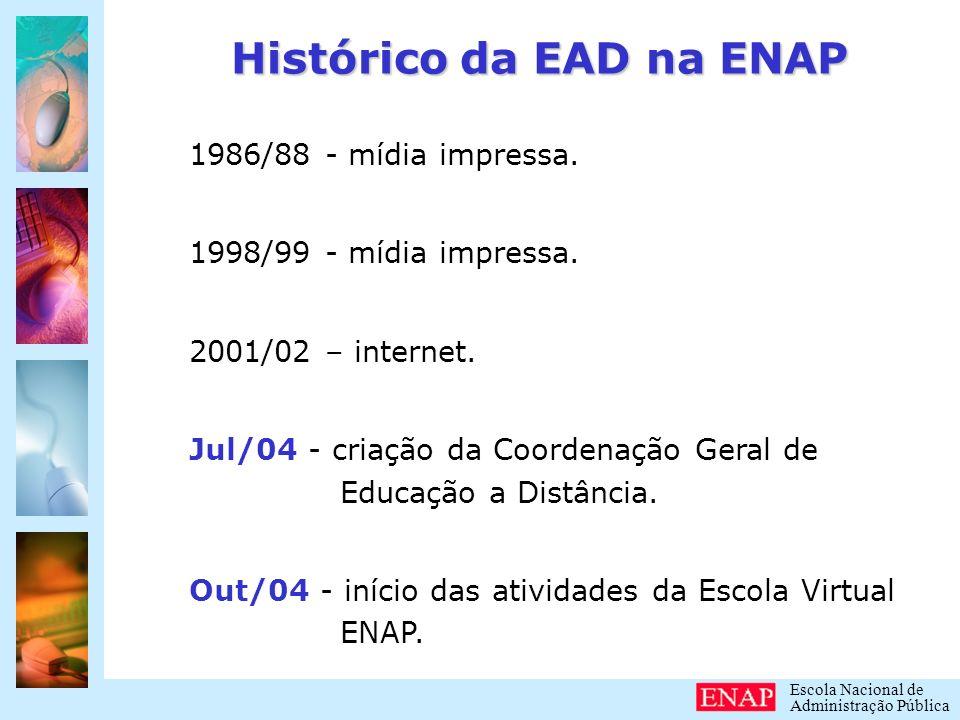 Escola Nacional de Administração Pública Objetivos da EAD na ENAP: Democratização do acesso ao conhecimento.