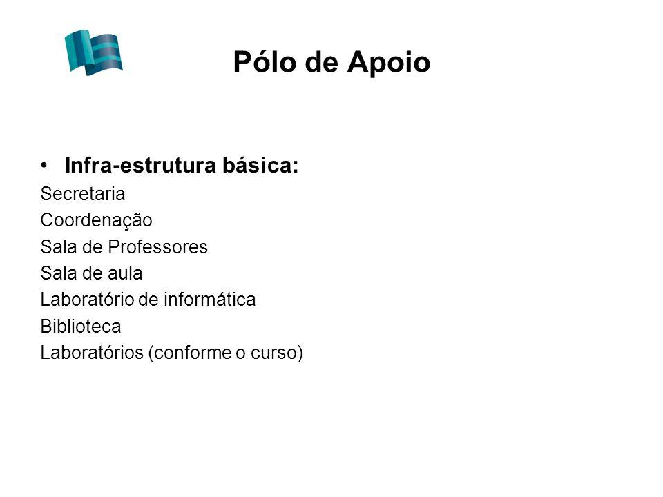 Pólo de Apoio Infra-estrutura básica: Secretaria Coordenação Sala de Professores Sala de aula Laboratório de informática Biblioteca Laboratórios (conforme o curso)