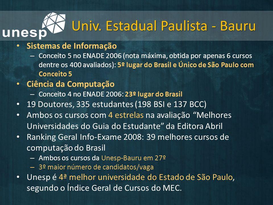 Univ. Estadual Paulista - Bauru Sistemas de Informação – Conceito 5 no ENADE 2006 (nota máxima, obtida por apenas 6 cursos dentre os 400 avaliados): 5