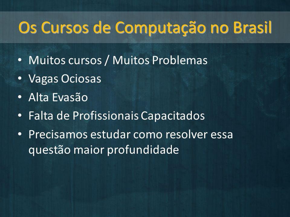 Os Cursos de Computação no Brasil Muitos cursos / Muitos Problemas Vagas Ociosas Alta Evasão Falta de Profissionais Capacitados Precisamos estudar como resolver essa questão maior profundidade