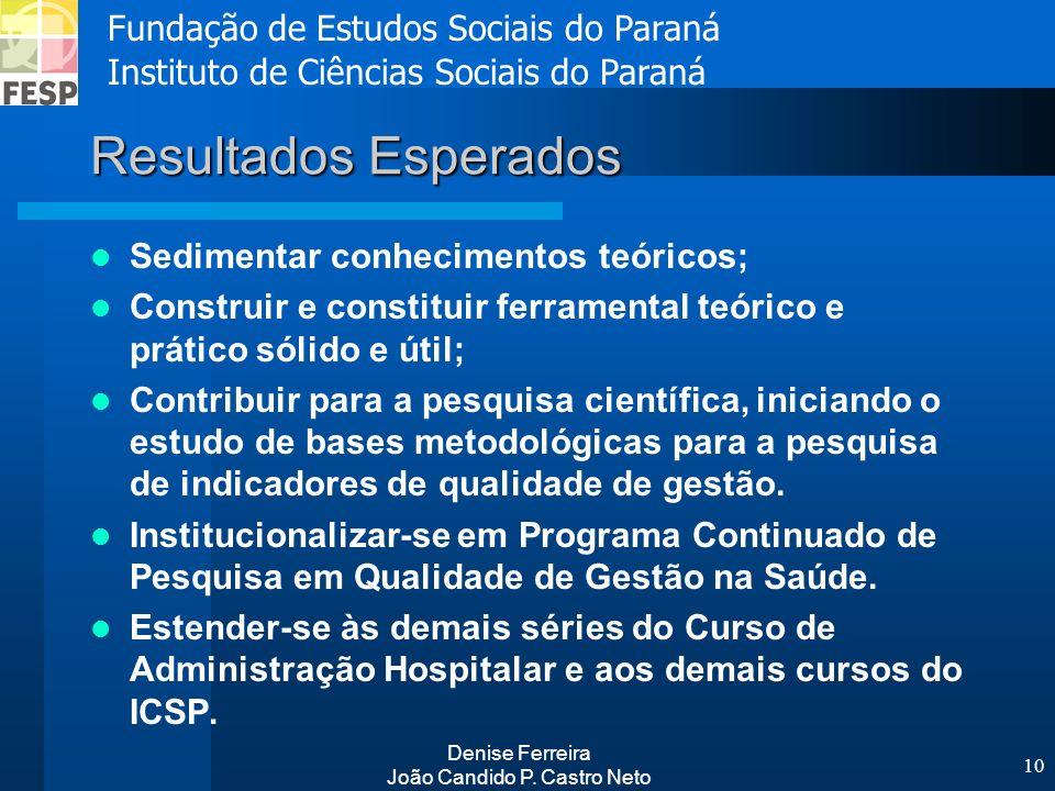 Fundação de Estudos Sociais do Paraná Instituto de Ciências Sociais do Paraná Denise Ferreira João Candido P. Castro Neto 10 Resultados Esperados Sedi