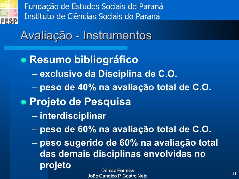 Fundação de Estudos Sociais do Paraná Instituto de Ciências Sociais do Paraná Denise Ferreira João Candido P. Castro Neto 11 Avaliação - Instrumentos