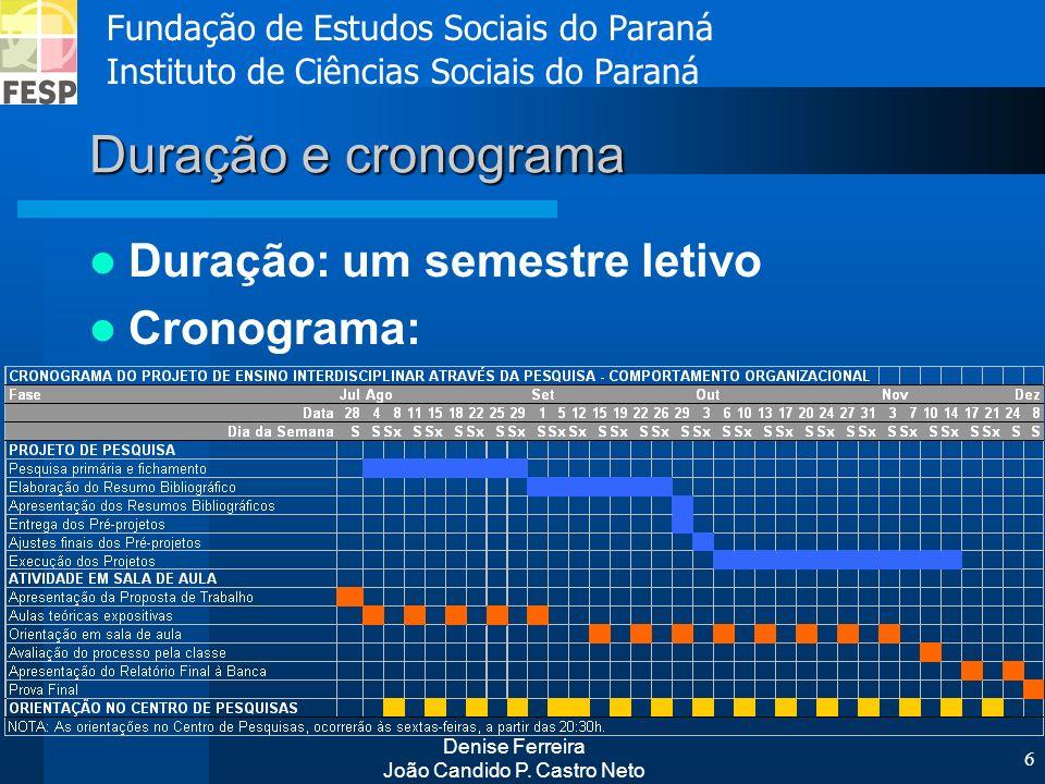 Fundação de Estudos Sociais do Paraná Instituto de Ciências Sociais do Paraná Denise Ferreira João Candido P. Castro Neto 6 Duração e cronograma Duraç