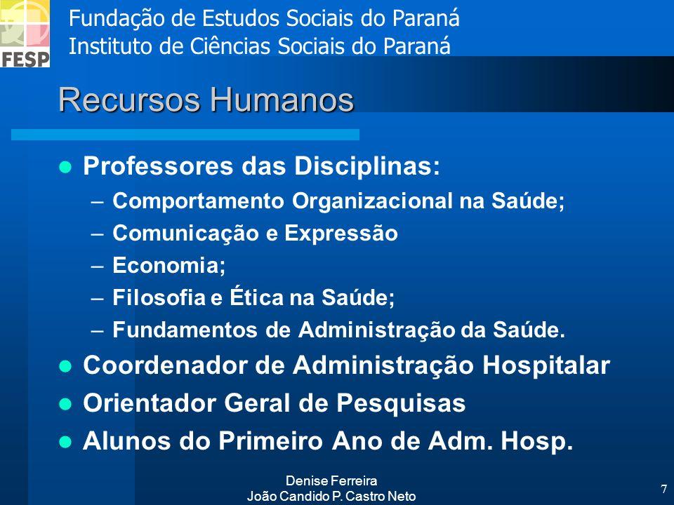 Fundação de Estudos Sociais do Paraná Instituto de Ciências Sociais do Paraná Denise Ferreira João Candido P. Castro Neto 7 Recursos Humanos Professor