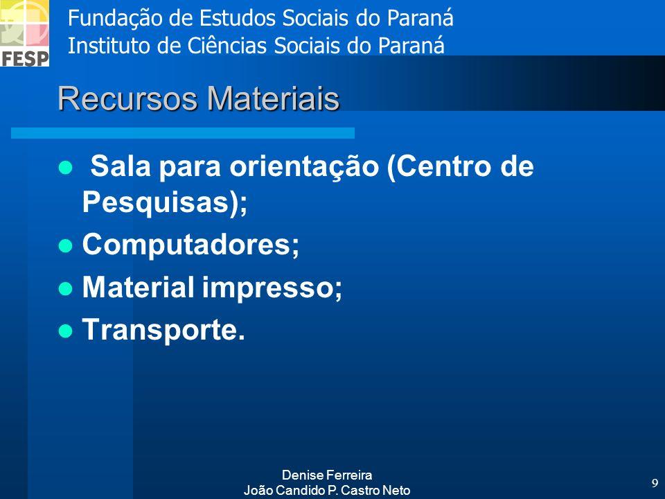 Fundação de Estudos Sociais do Paraná Instituto de Ciências Sociais do Paraná Denise Ferreira João Candido P. Castro Neto 9 Recursos Materiais Sala pa