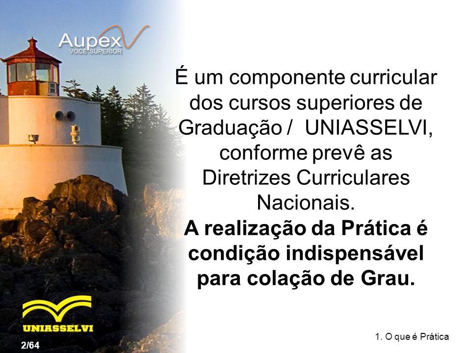 É um componente curricular dos cursos superiores de Graduação / UNIASSELVI, conforme prevê as Diretrizes Curriculares Nacionais. A realização da Práti