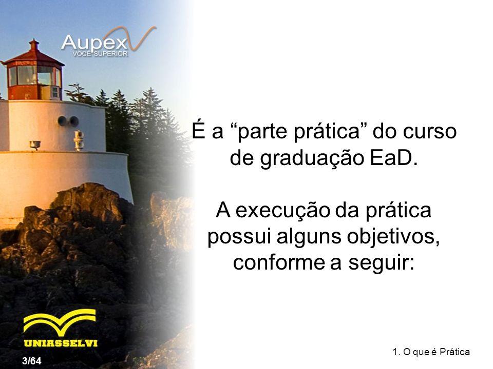 É a parte prática do curso de graduação EaD. A execução da prática possui alguns objetivos, conforme a seguir: 1. O que é Prática 3/64