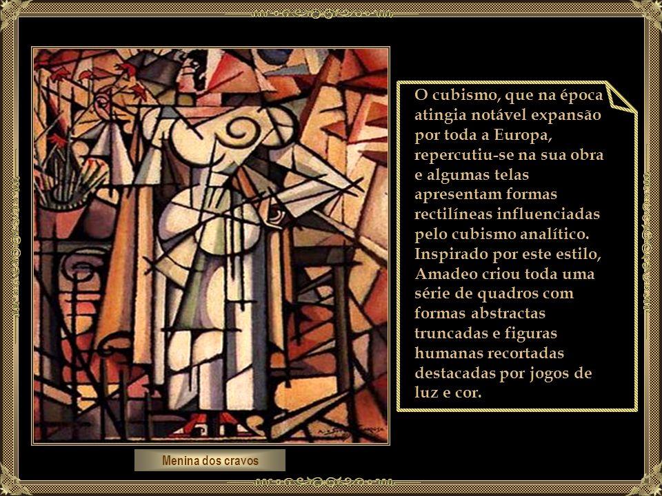 Menina dos cravos O cubismo, que na época atingia notável expansão por toda a Europa, repercutiu-se na sua obra e algumas telas apresentam formas rectilíneas influenciadas pelo cubismo analítico.