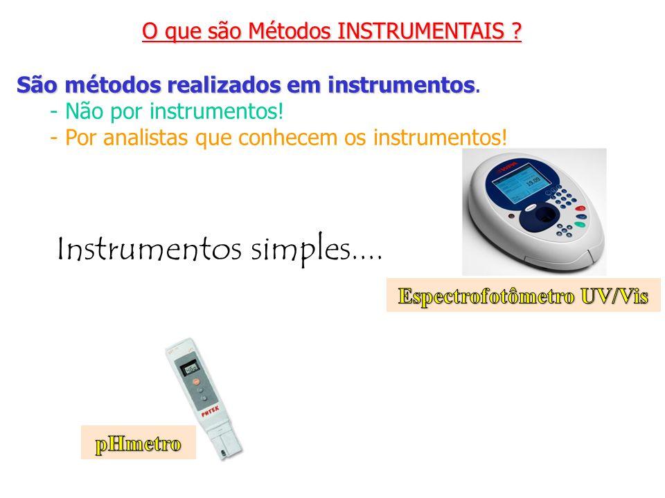 O que são Métodos INSTRUMENTAIS ? São métodos realizados em instrumentos São métodos realizados em instrumentos. - Não por instrumentos! - Por analist