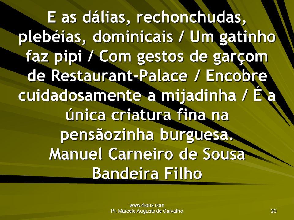 www.4tons.com Pr. Marcelo Augusto de Carvalho 20 E as dálias, rechonchudas, plebéias, dominicais / Um gatinho faz pipi / Com gestos de garçom de Resta