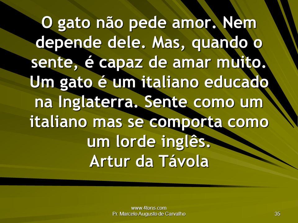 www.4tons.com Pr. Marcelo Augusto de Carvalho 35 O gato não pede amor. Nem depende dele. Mas, quando o sente, é capaz de amar muito. Um gato é um ital