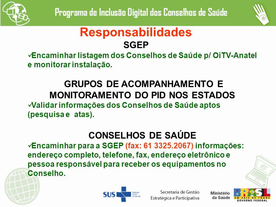 Responsabilidades SGEP Encaminhar listagem dos Conselhos de Saúde p/ OiTV-Anatel e monitorar instalação.