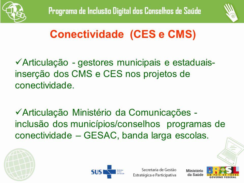 Conectividade (CES e CMS) Articulação - gestores municipais e estaduais- inserção dos CMS e CES nos projetos de conectividade.