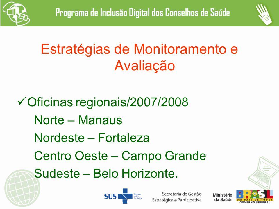 Estratégias de Monitoramento e Avaliação Oficinas regionais/2007/2008 Norte – Manaus Nordeste – Fortaleza Centro Oeste – Campo Grande Sudeste – Belo Horizonte.