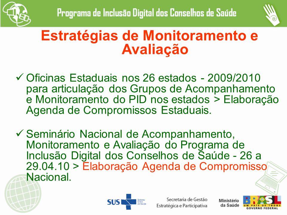 Estratégias de Monitoramento e Avaliação Oficinas Estaduais nos 26 estados - 2009/2010 para articulação dos Grupos de Acompanhamento e Monitoramento do PID nos estados > Elaboração Agenda de Compromissos Estaduais.