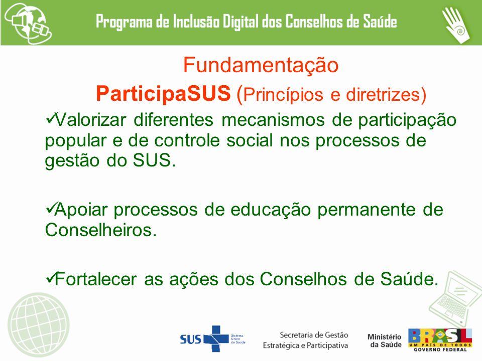 Fundamentação ParticipaSUS ( Princípios e diretrizes) Valorizar diferentes mecanismos de participação popular e de controle social nos processos de gestão do SUS.