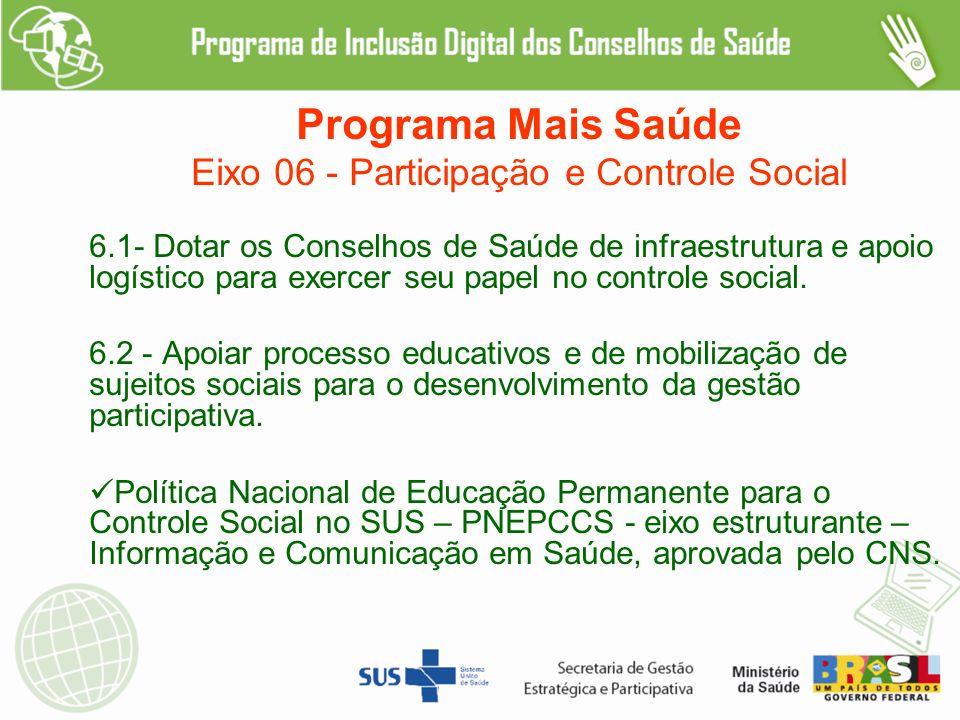 Programa Mais Saúde Eixo 06 - Participação e Controle Social 6.1- Dotar os Conselhos de Saúde de infraestrutura e apoio logístico para exercer seu papel no controle social.
