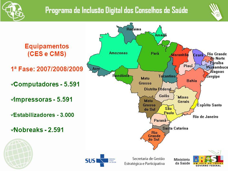 Equipamentos (CES e CMS) 1ª Fase: 2007/2008/2009 Computadores - 5.591 Impressoras - 5.591 Estabilizadores - 3.000 Nobreaks - 2.591