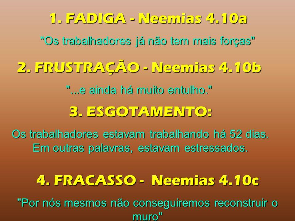 1.FADIGA - Neemias 4.10a Os trabalhadores já não tem mais forças 2.