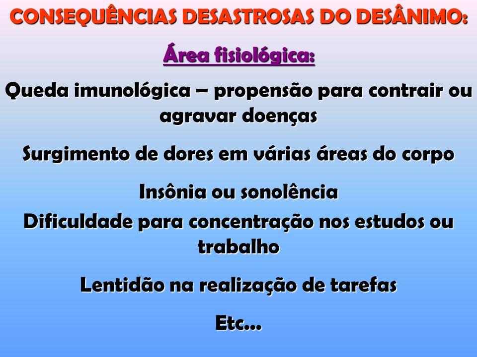CONSEQUÊNCIAS DESASTROSAS DO DESÂNIMO: Área fisiológica: Dificuldade para concentração nos estudos ou trabalho Lentidão na realização de tarefas Etc...