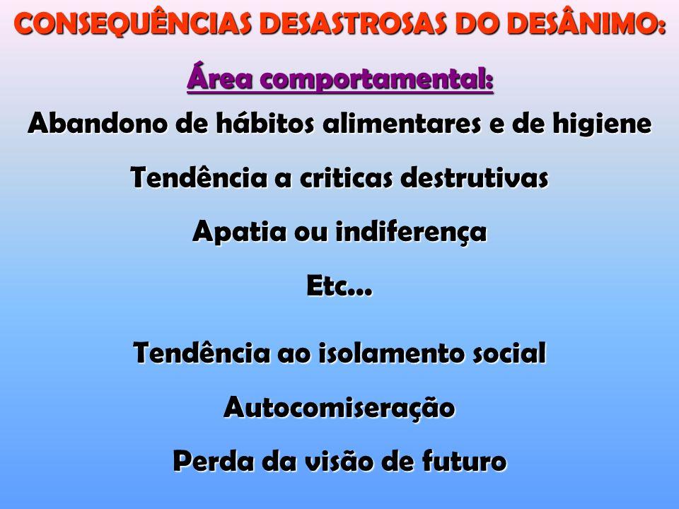 Abandono de hábitos alimentares e de higiene Tendência a criticas destrutivas Apatia ou indiferença Etc...