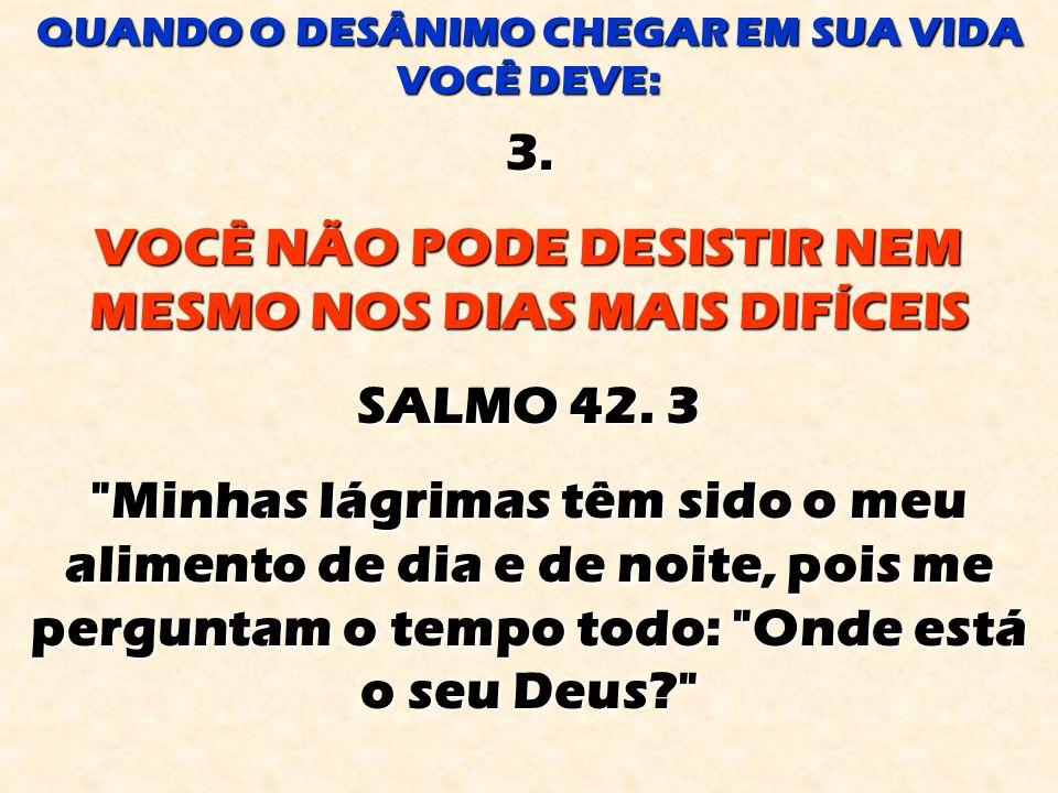 3.VOCÊ NÃO PODE DESISTIR NEM MESMO NOS DIAS MAIS DIFÍCEIS SALMO 42.