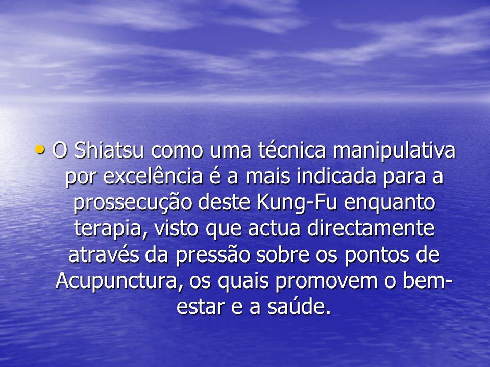 O Shiatsu como uma técnica manipulativa por excelência é a mais indicada para a prossecução deste Kung-Fu enquanto terapia, visto que actua directamen