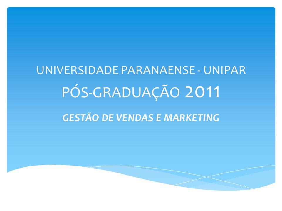 UNIVERSIDADE PARANAENSE - UNIPAR PÓS-GRADUAÇÃO 2011 GESTÃO DE VENDAS E MARKETING