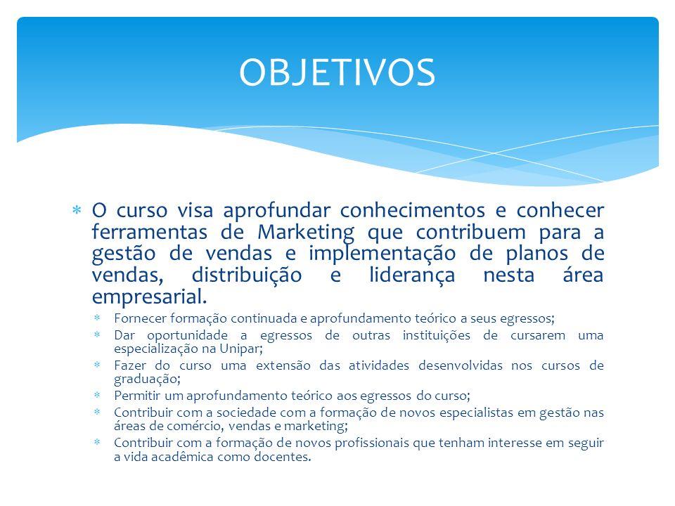 O curso visa aprofundar conhecimentos e conhecer ferramentas de Marketing que contribuem para a gestão de vendas e implementação de planos de vendas,