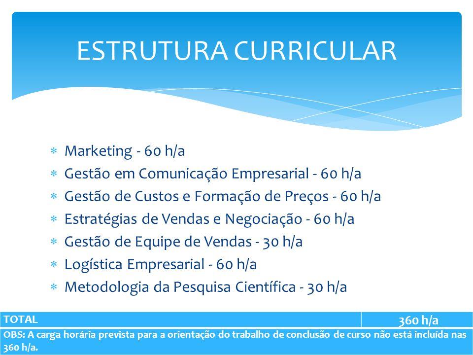 Marketing - 60 h/a Gestão em Comunicação Empresarial - 60 h/a Gestão de Custos e Formação de Preços - 60 h/a Estratégias de Vendas e Negociação - 60 h/a Gestão de Equipe de Vendas - 30 h/a Logística Empresarial - 60 h/a Metodologia da Pesquisa Científica - 30 h/a ESTRUTURA CURRICULAR TOTAL 360 h/a OBS: A carga horária prevista para a orientação do trabalho de conclusão de curso não está incluída nas 360 h/a.