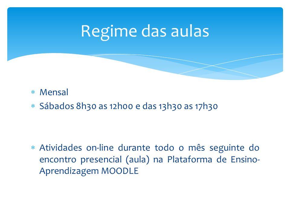 Mensal Sábados 8h30 as 12h00 e das 13h30 as 17h30 Atividades on-line durante todo o mês seguinte do encontro presencial (aula) na Plataforma de Ensino